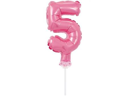 """Balon foliowy 13 cm na patyczku """"Cyfra 5"""", różowa BC-5RO5"""