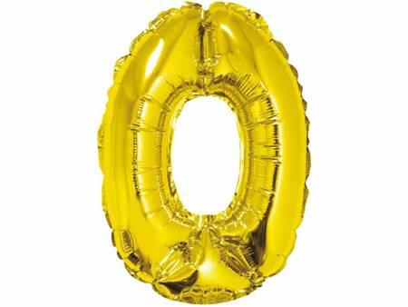 """Balon foliowy """"Cyfra 0"""", złota, 35 cm FG-C35Z0"""