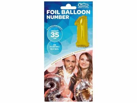 """Balon foliowy """"Cyfra 1"""", złota, 35 cm FG-C35Z1"""