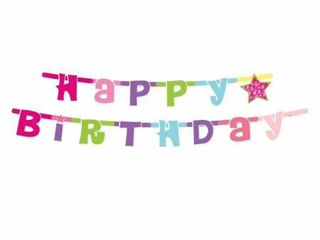 """Girlanda """"Happy Birthday różowe"""", 1.8 m PF-GHBR"""