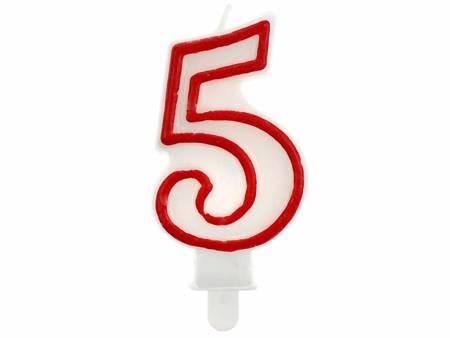 """Świeczka cyferka """"5"""", czerwony kontur 7 cm PF-SCC/5"""